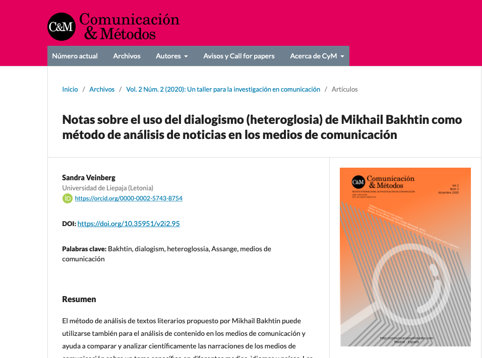 Sandra Veinberg Some Notes on the Use of Mikhail Bakhtin's Dialogism (Heteroglossia) as a Method in Media Text Analysis